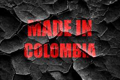 Grunge cracked Made in colombia - stock illustration