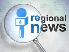 News concept: Microphone and Regional News with optical glass Stock Illustration