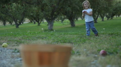 Girl going apple picking Stock Footage