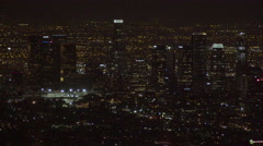 Downtown Los Angeles at night (GRADED) Stock Footage