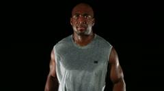 Athlete running, slow motion - stock footage