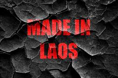 Grunge cracked Made in laos - stock illustration