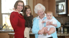 Great Grandmother with Grandchildren Stock Footage