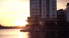 HD Slow Montion Sunrise Sunset over water, Dublin, Ireland Stock Footage