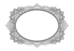 Rich decorated oval frame pattern. Vector decorative background in ethnic Ind Piirros