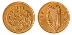 Stock Photo of 2 pence 1995 coin isolated on white background, Ireland