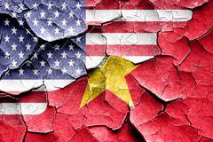 Grunge Vietnam flag with american flag combination Stock Illustration