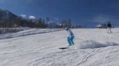 Exciting descents on the slopes of the ski. - stock footage
