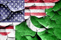 Grunge Pakistan flag with american flag combination Stock Illustration