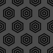 Seamless Black and White Geometric Pattern from Hexagons - stock illustration