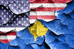 Stock Illustration of Grunge Kosovo flag with american flag combination