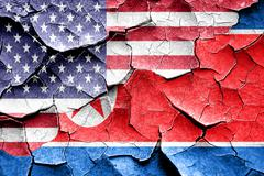 Grunge North Korea flag with american flag combination Stock Illustration