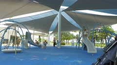 South Pointe Park playground with people Stock Footage