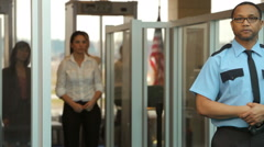 Portrait of airport security person Stock Footage