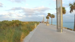South Pointe Park pedestrian path by the water Stock Footage