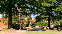 A full view of the Behold statue in the Martin Luther King Memorial Center Stock Footage