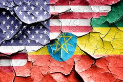 Grunge Ethiopia flag with american flag combination - stock illustration