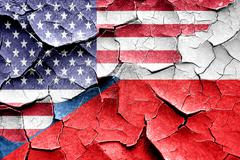 Grunge Czech flag with american flag combination - stock illustration