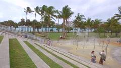 Miami Beach South Pointe Park scene Stock Footage