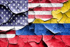 Grunge Colombia flag with american flag combination - stock illustration