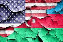 Grunge Azerbaijan flag with american flag combination Stock Illustration