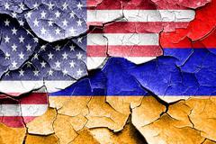 Grunge Armenia flag with american flag combination - stock illustration