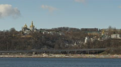 Bell Tower on a Hill Kiev Pechersk Lavra Golden Cupola Right Bank of the River - stock footage