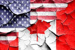 Grunge Canada flag with american flag combination - stock illustration