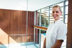 Portrait of smiling masseuse Stock Photos