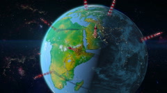Earth with towers antennas Stock Footage