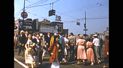 Vintage 16mm film, 1952, Vancouver people walking at downtown intersection Stock Footage