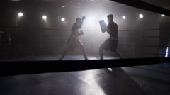 Boxing in the ring - stock footage