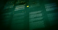 Lines of Text on Dark Green Background Seamless Loop Animation With Camera Stock Footage