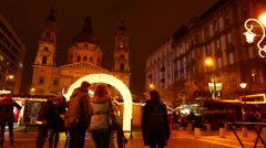 Christmas Market in Budapest Stock Footage
