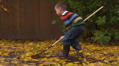 Kids raking leaves Stock Footage