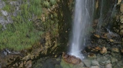 flying over the high waterfall in Albania - stock footage