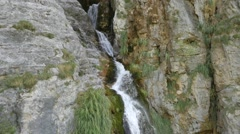 Flying over the high waterfall in Albania Stock Footage