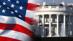 US White House and American Flag Stock Footage