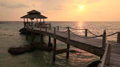 Sea water wave and sunset on the beach. Island Koh Kood, Thailand Stock Footage