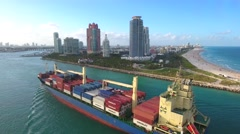 Tug Boat and Cargo ship at Port Miami Stock Footage