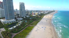 Fast aerial drone Miami Beach Stock Footage