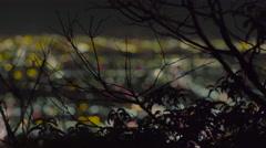 Dark tree with night city bokeh Stock Footage