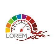 Speedometer Logo Vector Red Race Racing Drag Piirros