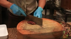Chef prepares peking roast duck in restaurant . Bangkok, Thailand - stock footage