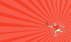 Business card Tennis Player Racquet Forehand Cartoon Stock Illustration