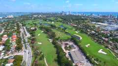 Sped up aerial video Miami Beach golf club 4k Stock Footage