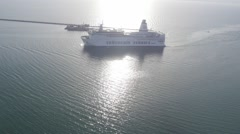 Aerial view on a big passenger ships Stock Footage