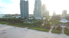 Miami highrise condos on the beach aerial video Stock Footage