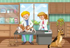 Two vets healing dogs in the hospital Stock Illustration