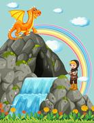 Knight and dragon at the waterfall Stock Illustration